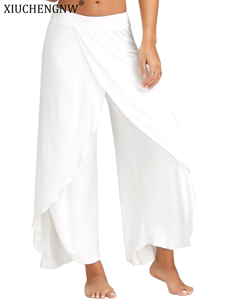 Women Beach Split   Pants   Trousers Boho Gypsy Hippie Women   Wide     Leg   Elastic Trousers Plus Size Loose White Silk Ladies Dance   pants