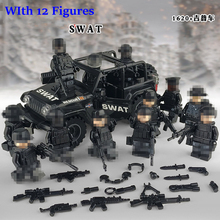 SWAT War Police Jeep Cars Military Sets Army Figures Weapon Building Block Brick Toys For Children Kids Gifts With Lepininglys 190pcs police swat jeep car model building block toys enlighten 1110 educational figure gift for children compatible legoe