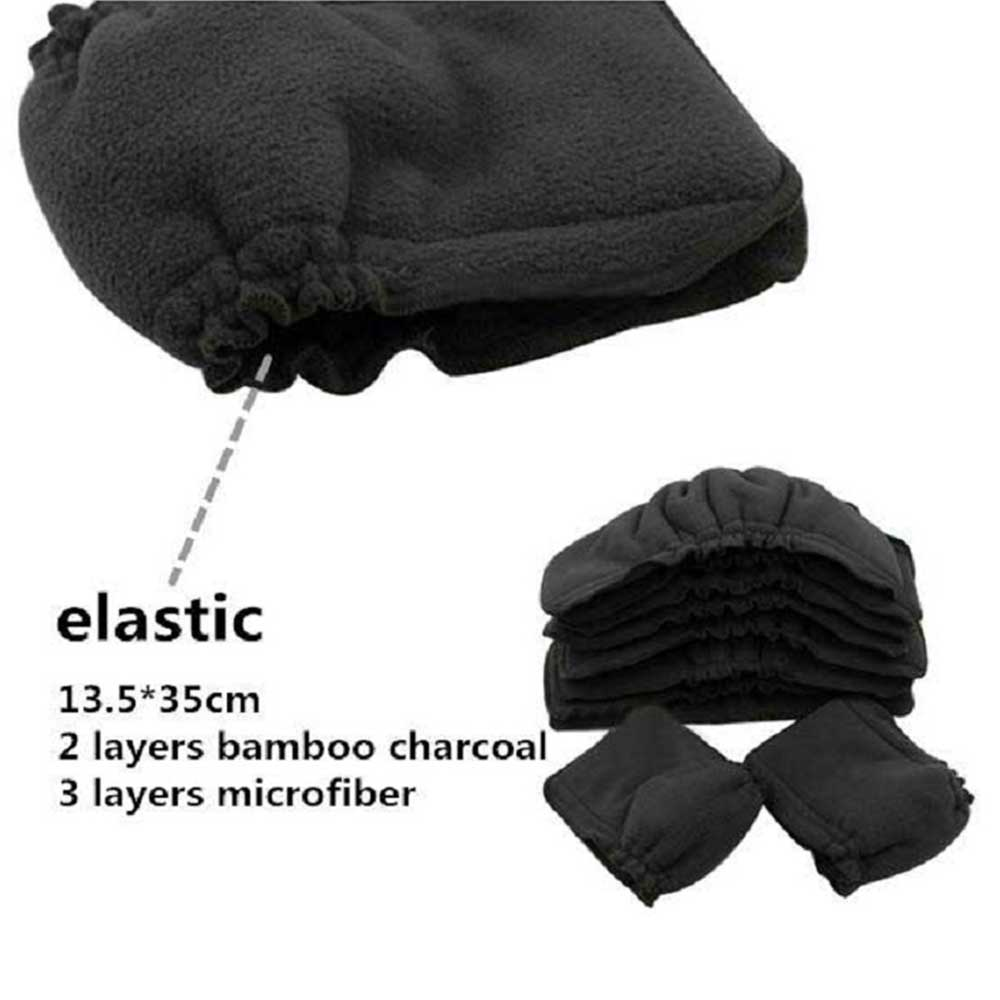 Ohbabyka 12pcs Cloth Diaper Inserts 5-Layer Washable Charcoal Bamboo Inserts with Gussets