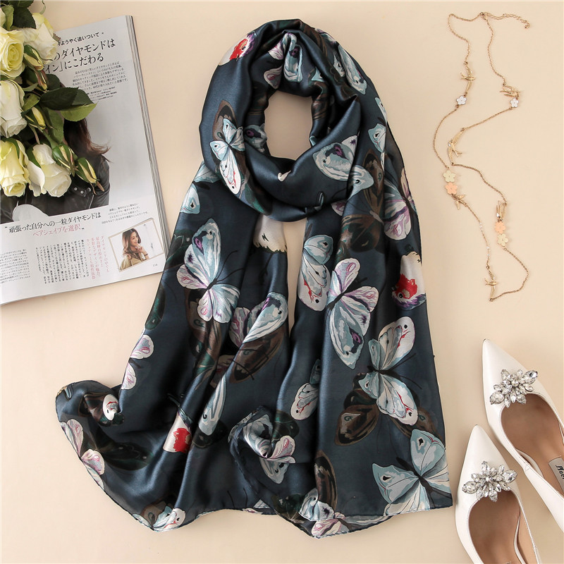 2019 new style women Popular beach silk fashion Autumn and winter nice Butterfly   scarves     wraps   hijab lady muffler print shawl