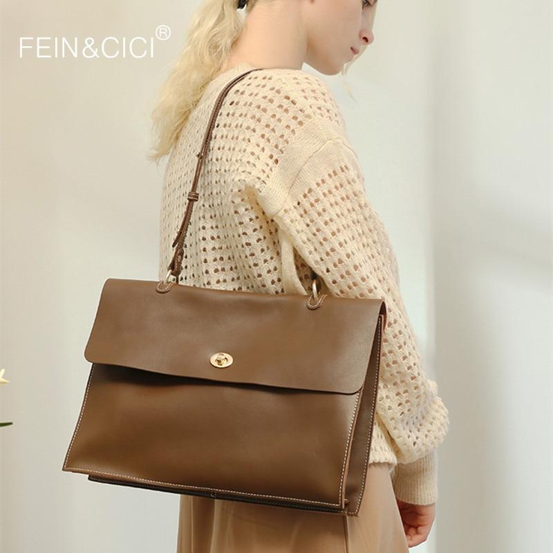 Women Briefcase 100% Genuine Leather Large Capacity Handbag Shoulder Crossbody Bag Red Camel Black Grey Beige