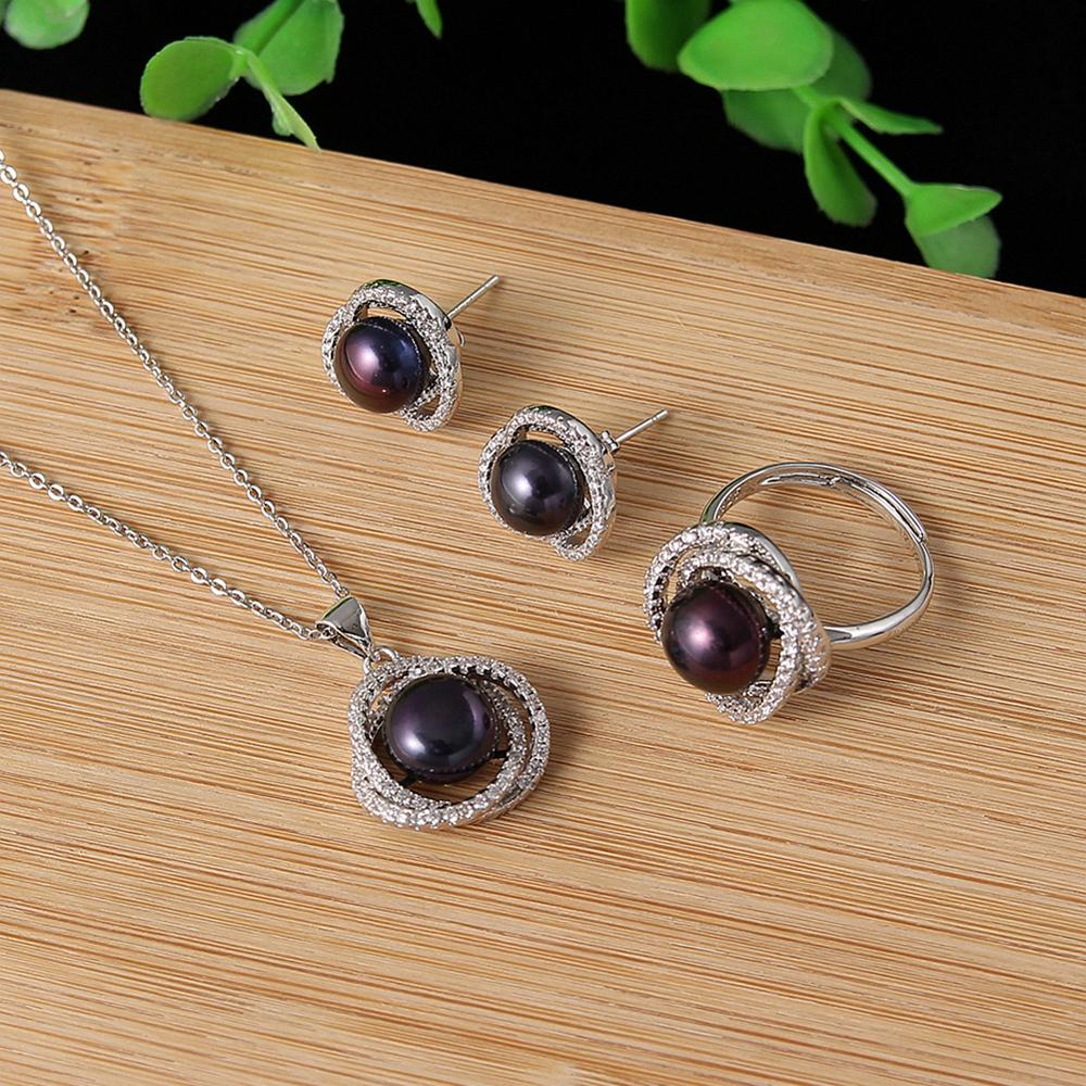 Real Freshwater Pearl Sets For Women Wedding Party Pearl Necklace Pendant Stud Pearl Earrings Fine Jewelry Set Gift