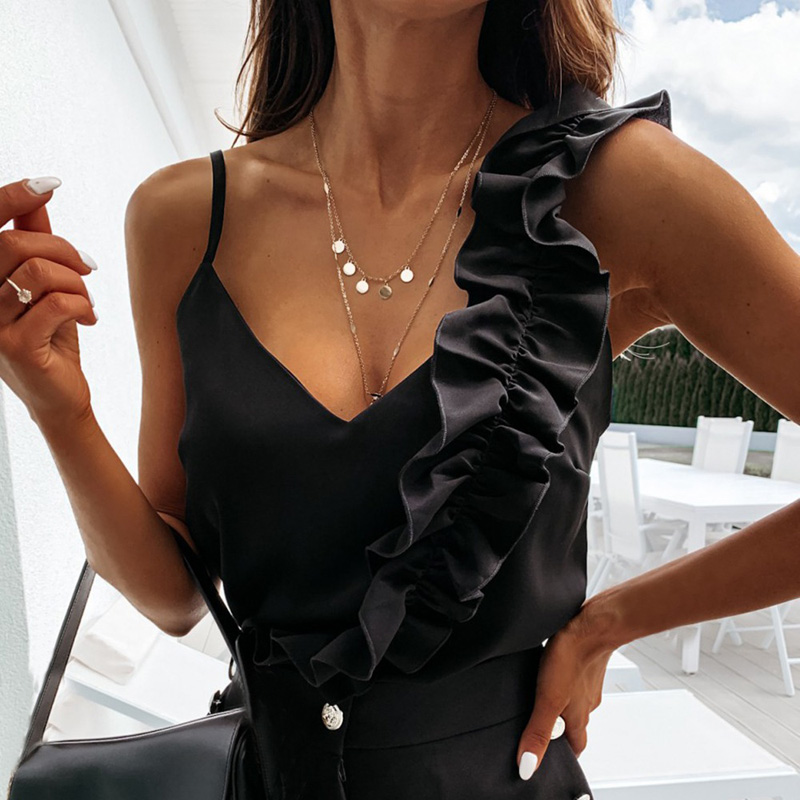 Women Summer Blouse Shirts Sexy V Neck Ruffle Blouses Backless Spaghetti Strap Office Ladies Sleeveless Casual Tops 4