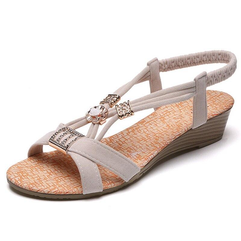 Wedge Sandals Slip-On Summer Shoes Low-Heels Female Black Bohemia Women Mujer Casual
