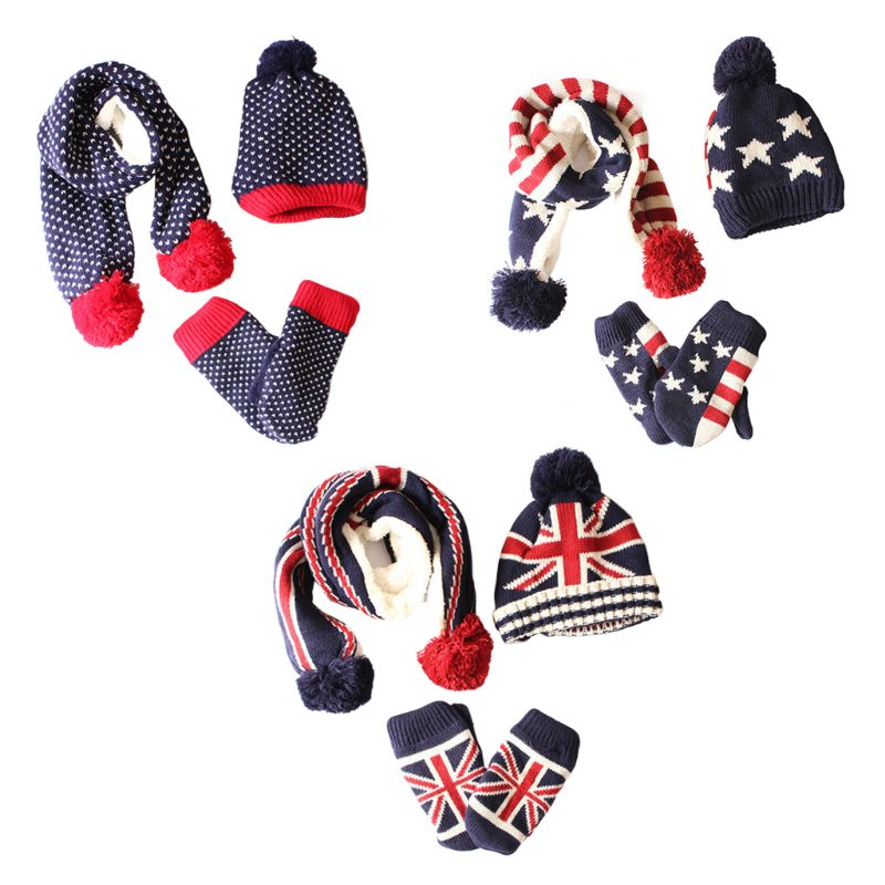Children Scarf Hat Gloves Set Stars Stripes Fashion Kids Mittens 3 Pcs Accessory