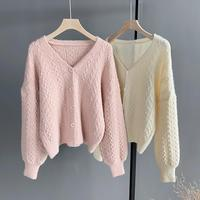 Fall Twist Cable Sweater Coat Flowers Knitted Cardigan White Loose Sweater Solid Femme Spring 2019 Korean Sweater