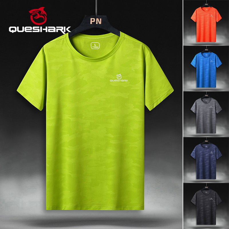 QUESHARK Professional Men Quick Dry Running T Shirt Slim Tops Breathable Gym Camping Hiking Cycling T-shirts Tees M -5XL Size