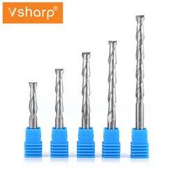 Vsharp 1 sztuk CNC wiertło do grawerowania 2 flety frez spiralny frez węglikowy frez do drewna narzędzie CNC Endmill|Frez|Narzędzia -