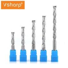 Vsharp CNC Gravur Router Bit Flache Nase Ende Mühle 2 Zwei Flöten Spirale Upcut Fräsen Cutter Werkzeug Hartmetall Bits für holz MDF PVC