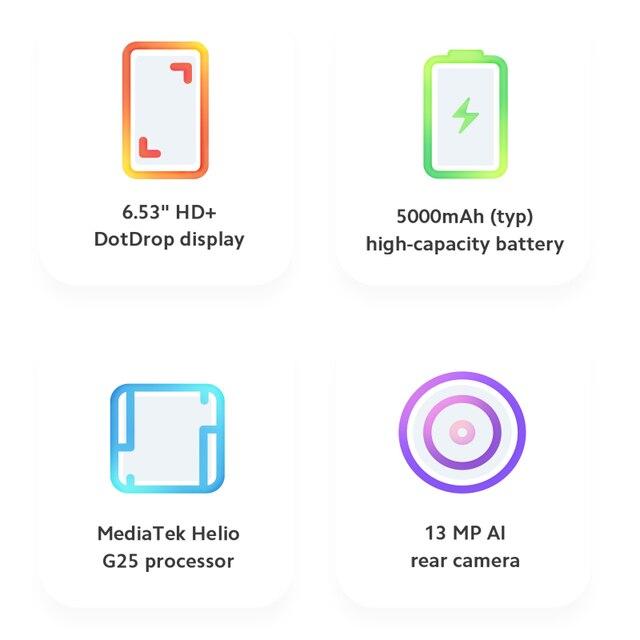 """Global Version Xiaomi Redmi 9A Mobile Phone 2GB RAM 32GB ROM MTK Helio G25 Octa Core 6.53"""" 5000mAh 13MP Camera Smartphone 5"""