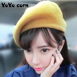 2020Women Girl Beret French Artist Warm Wool Winter Beanie Hat Cap Vintage Plain Beret Hats Solid Color Elegant Lady Winter Caps