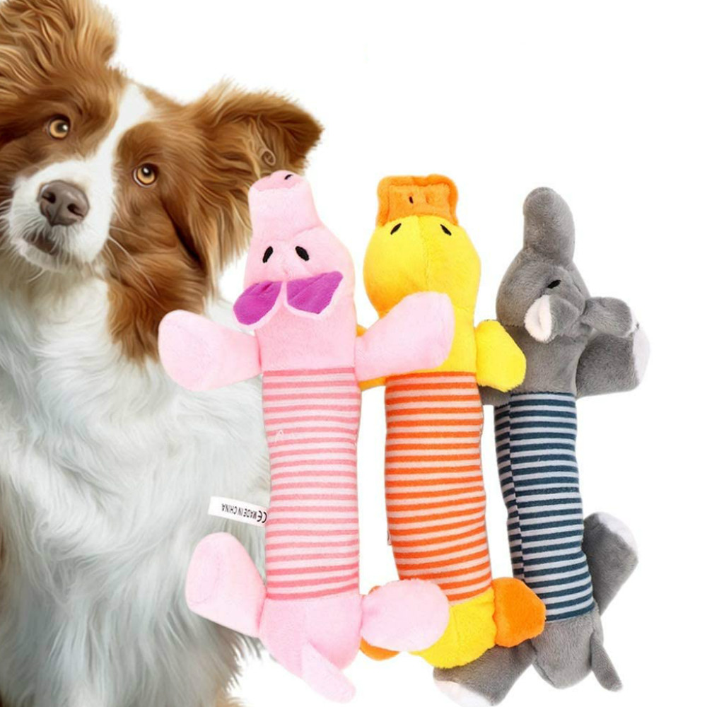 New Squeak Chew Dog Cat Pet Toys Sound Dolls Dog Cat Fleece Pet Funny Plush Toys Elephant Duck Pig Fit for All Pets Durability