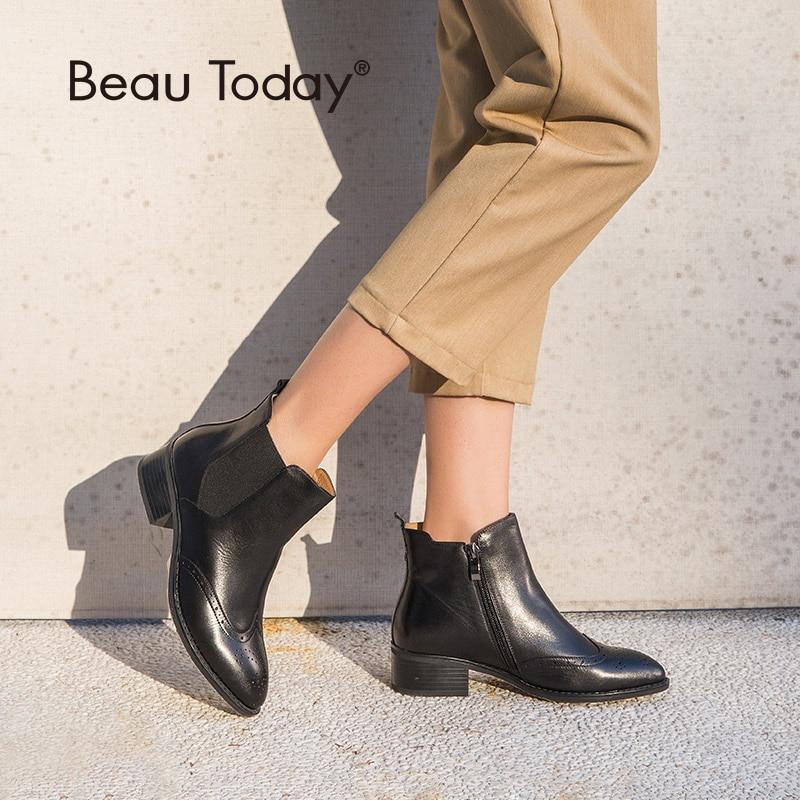 BeauToday femmes Chelsea bottes marque Top qualité en cuir de veau printemps automne cheville longueur dames Brogue bottes à la main 03241-in Bottines from Chaussures    1