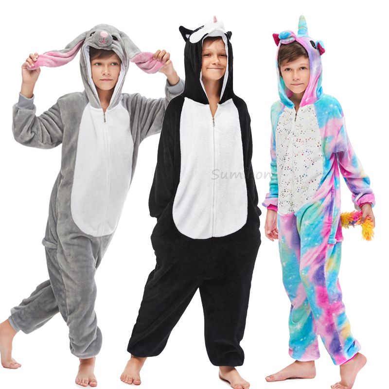 Winter Children Unicorn Kigurumi Pajama Kids Boys Girls Anime Panda Overalls Rabbit Pijama Onesie Baby Animal Sleepwear Cosplay