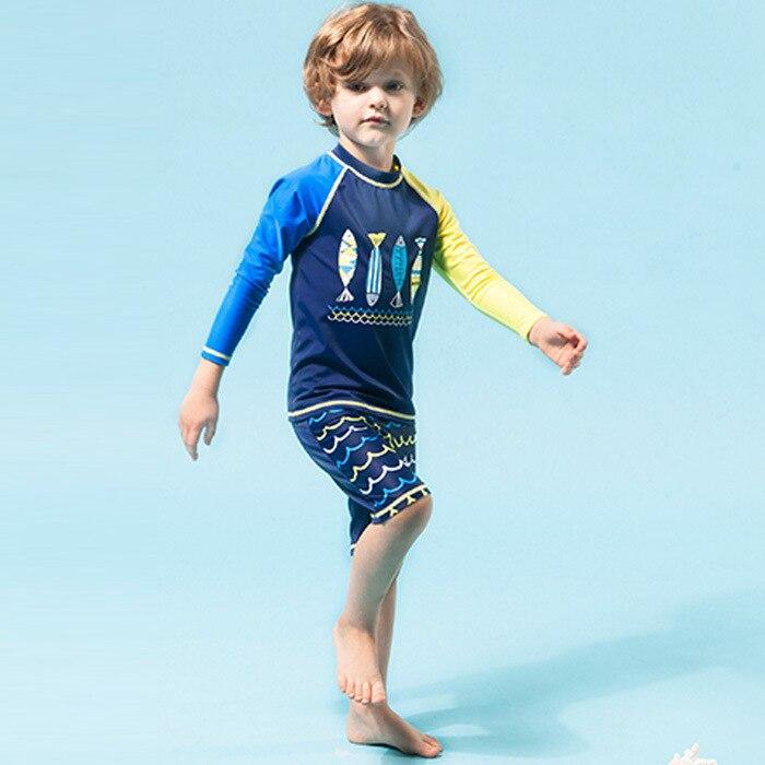 Children Long Sleeve Warm Swimsuit For Boys Medium-small Big Kid Boy Split Type Boxer Handsome Korean-style Hot Springs Bathing