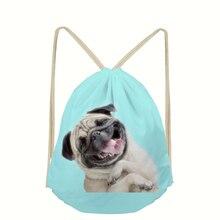 WHEREISART 3d Backpack Pug Dog Printed Drawstring Bag Sack Sport Gym Travel Outdoor Backpack