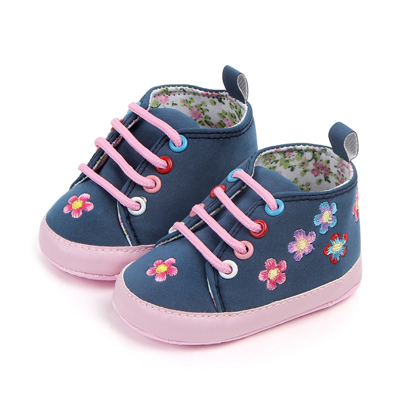 Spring Autumn Newborn Shoes Baby Girls Flower Print PU First Walkers Lace-Up Soft Sole Walking Shoe New
