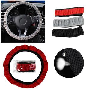 4 Colors Car Steering Wheel Cover Sandwich Fabric Handmade Winter Warm Steering Wheel Cover Car Accessories For Girls