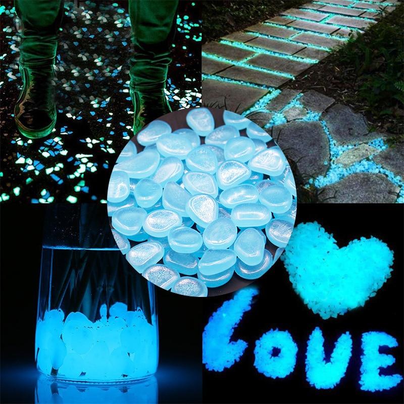 25/50 sztuk wystrój ogrodu świecące kamienie blask w ciemności chodniki rośliny dekoracyjne kamyki dekoracja akwarium skały akwarium