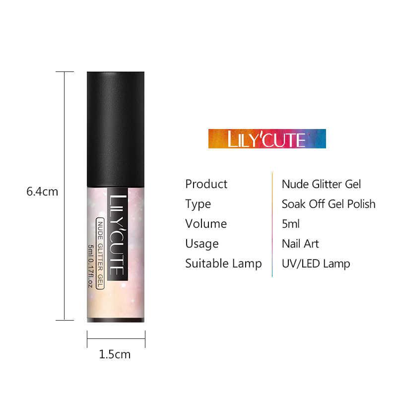 Lilycute 5 Ml Naakt Glitter Gel Nagellak Holografische Rose Gold Pailletten Nail Gel Soak Off Nail Art Uv Gel polish