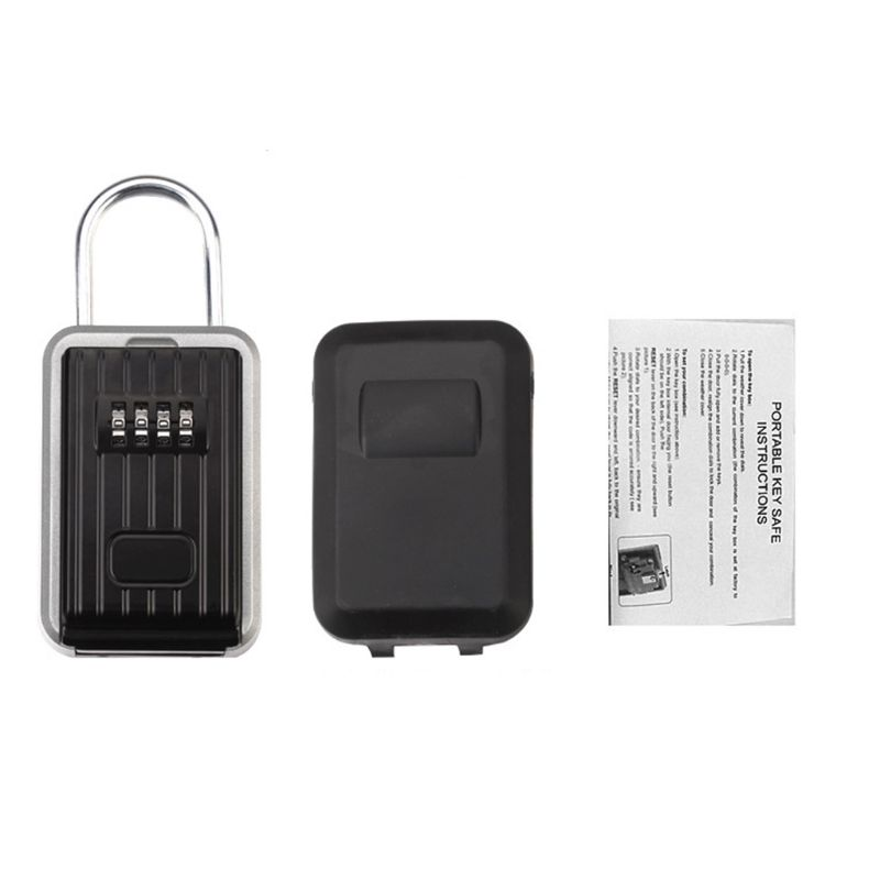 Key Lock Box With 4-Digit Combination For House Key Wall Mounted Padlock