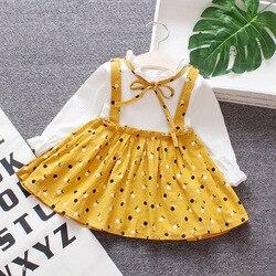 Infantil da criança dos miúdos do bebê meninas polka vestido de manga longa crianças primavera outono princesa festa praia floral arco tutu vestidos roupas
