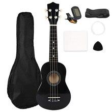 Ukelele Soprano de 21 pulgadas, 4 cuerdas, guitarra hawaiana, Uke hawaiana, bajo, conjunto de instrumentos musicales de cuerda, Kits + sintonizador + cuerda + correa + bolsa