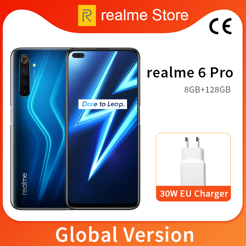 Global Version Realme 6 Pro 8GB 128GB 6.6'' 90Hz Fullscreen Snapdragon 720G Octa Core 64MP AI Quad Camera 4300mAh Battery