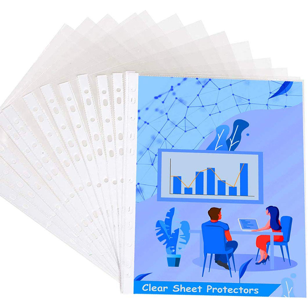 MyLifeUNIT 100 Pcs A4 Office School Clear PVC Punched Pockets Folders Filing Thin 11Holes Loose Leaf Documents Sheet Protectors image