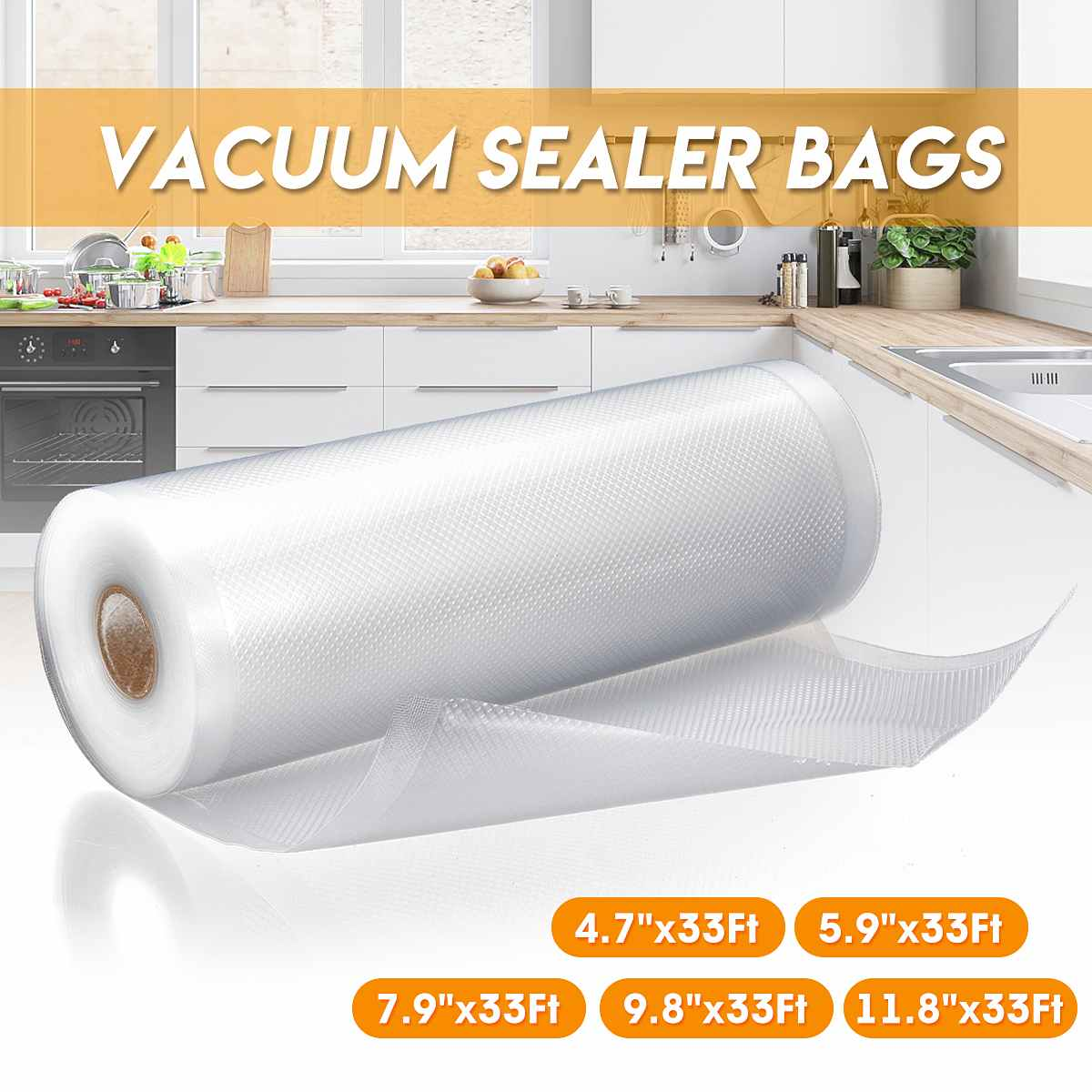 Vacuum Sealer Bags Vacuum Sealing Film Rolls For Food Vacuum Bags Kitchen Food Storage Sealer Saver Fresh Long Keeping 1000cm