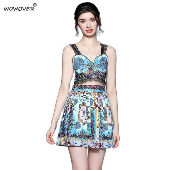 Fashion Summer Holiday Beach Dress 2 Piece Set Women Vintage Print Strapless Tank Crop Top with Pleated Skirt Suit Party Outfit 1