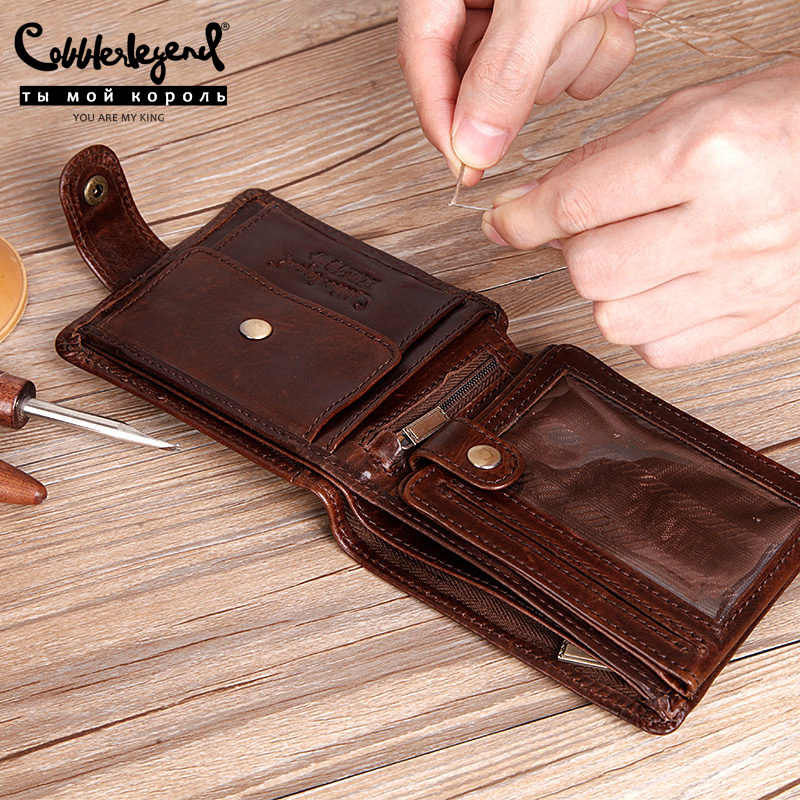 Cobbler Legend Real Cowhide Leather Bifold Clutch Genuine Leather Men's Short Wallets Coin Purses Male ID Credit Cards Holder