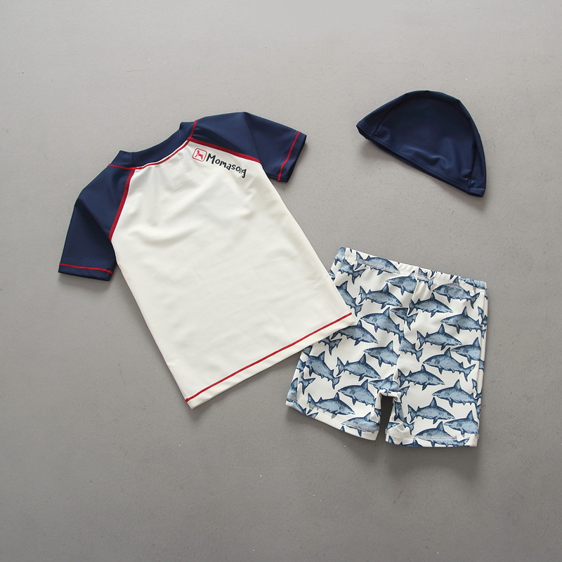 South Korea KID'S Swimwear BOY'S Boy Swimming Suit Set Shark Underwear Sun-resistant Chinlon Korean-style Baby Feeding Cap