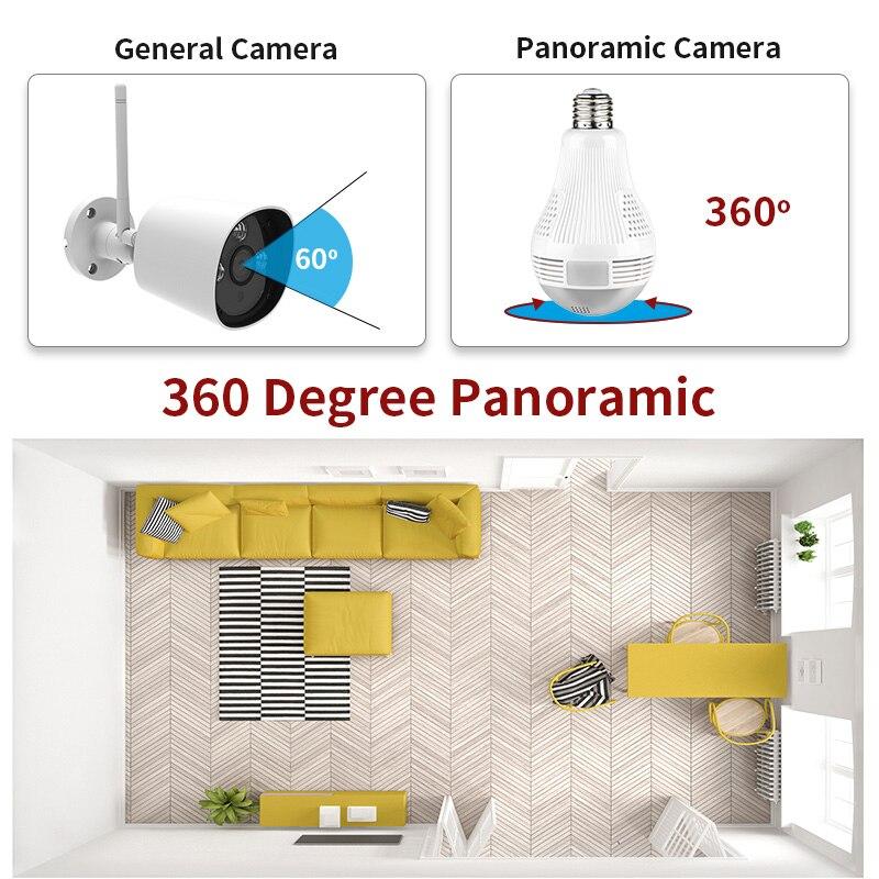 A-ZONE 3.0MP IP 360 Grad Panorama Licht Lampe Kamera Home Security Zwei Möglichkeiten Audio CCTV Drahtlose Wifi Birne Überwachung Kamera