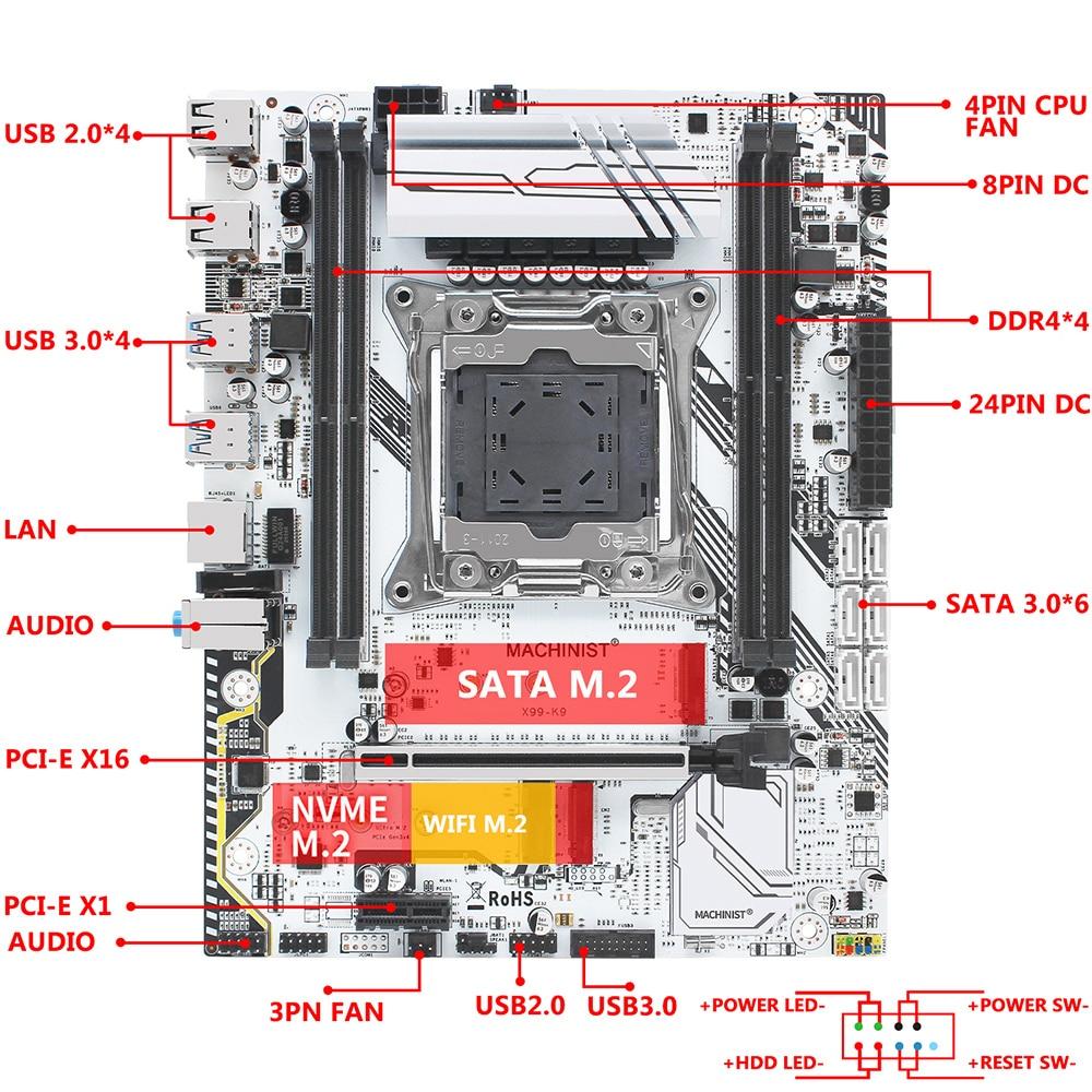 MACHINIST X99 motherboard LGA 2011-3 set kit with Intel xeon E5 4620 V3 processor DDR4 32GB 2666mhz RAM memory VRM FAN M-ATX 4