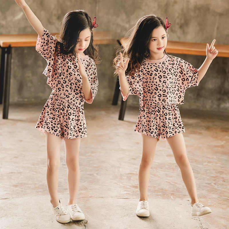 2020 di estate del bambino delle ragazze Dei vestiti Dei Bambini Set Abbigliamento Leopard T-Shirt + shors pantaloni 2Pcs Adolescente 4 5 6 7 8 9 10 11 12 13 anni