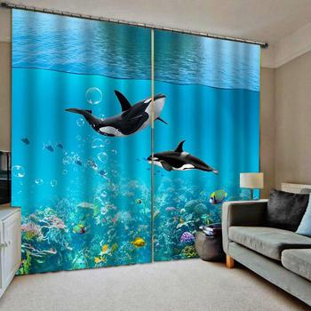 blue curtains Customized size Luxury Blackout 3D Window Curtains For Living Room underwater curtain 3d curtains