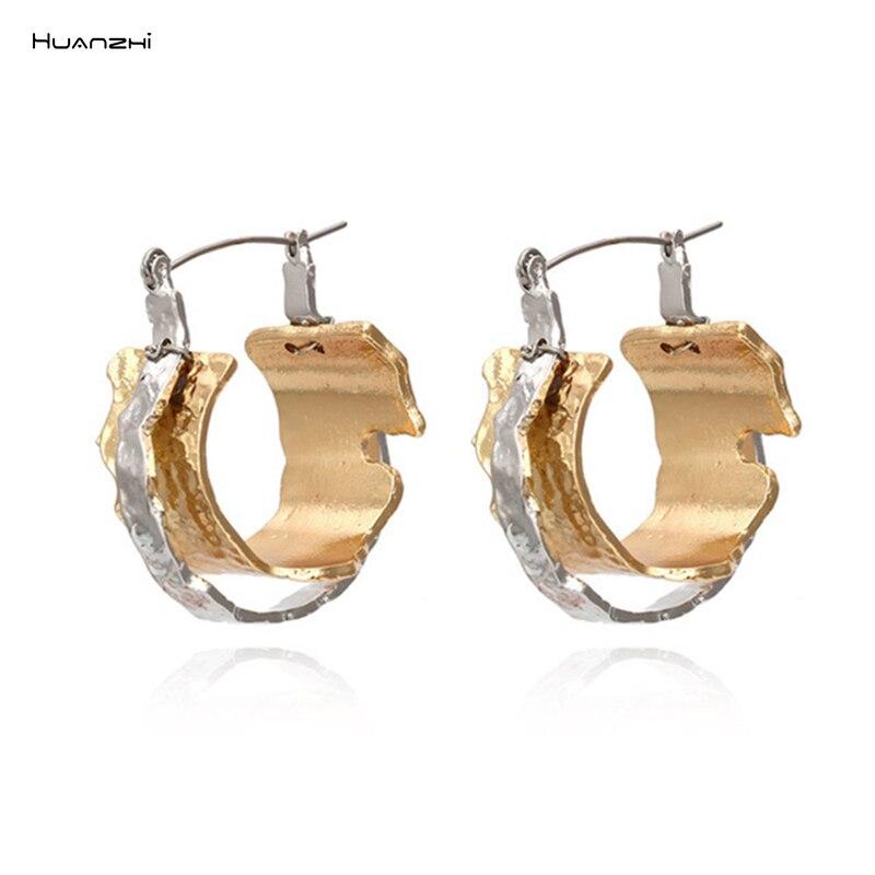 HUANZHI 2020 смешанные в стиле ретро Цвет нерегулярные с застежкой на двойную металлическую большой геометрической формы круглые большие серьги...