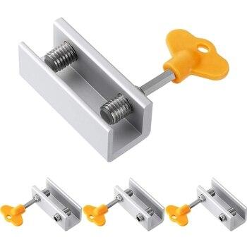 Fechaduras De Segurança Ajustáveis Do Quadro Da Porta Da Janela Da Liga De Alumínio Com Chave Para A Casa E O Escritório (fechamentos Dobro, 4 Pces