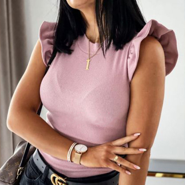 Women Ribbed Short Sleeve Shirt Women's Blouse Shirt 2020 Summer O-Neck Solid Color Ladies Tops Spring Sexy Slim blusas mujer 5