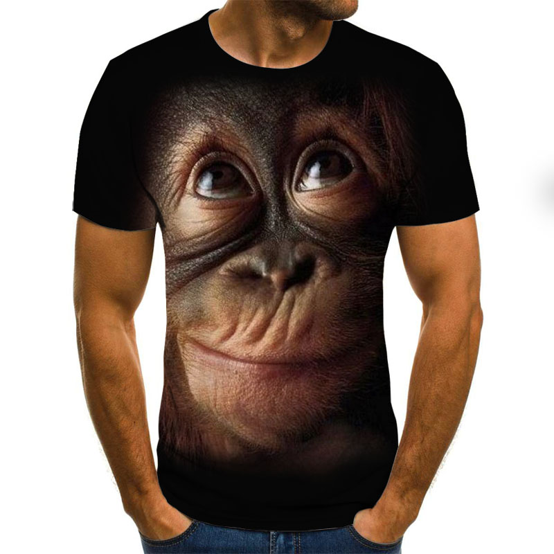 2020 Male T Shirt Orangutan Pattern 3D T-shirt Short Sleeve Men's Summer Fashion Top Animal Print 3DT Shirt Men's Clothing