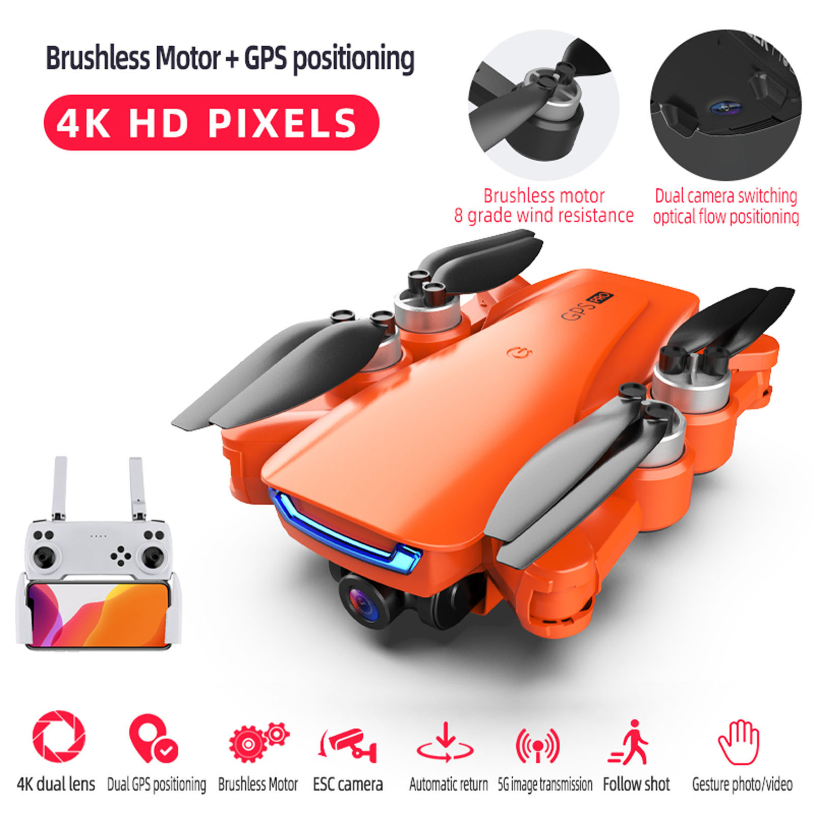 , Lu5 Pro Brushless Drone Drone With Double Hd Camera Gps 4k 5g Wifi Fpv Optical Brushless Rc Quadcopter Orange Fashion Drone, princxkonline