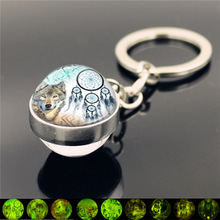 WG 1pc 12 Design Wolf Luminous KeyChain Double Side Glass Ball Pendant Charms Metal Keyring Men Fashion Gifts