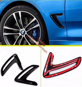 Gloss Black Side Marker Fender Air wing Vent cover For BMW 3 Series GT F34 13+