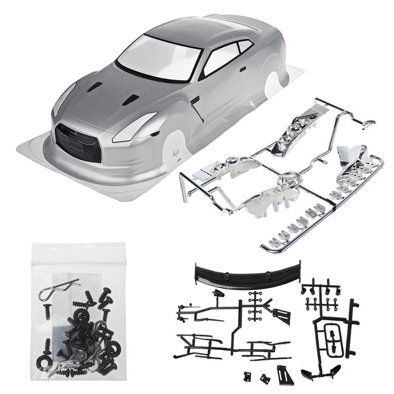 HSP 1/10 RC Car PVC Shell NISSAN GTR35 With Lamp Cup Rear Wing R7RB