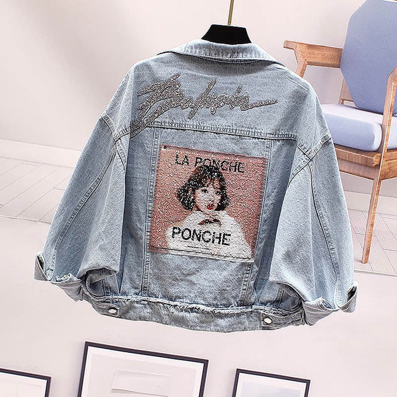 NiceMix Cowboy Coat Female Korean Version Loose Denim Jacket Women Back Diamonds Sequins Jean Jackets Outwear Girls Students Str