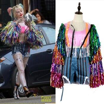 Movie Cosplay Harley Quinn Costume Birds Of Prey Cosplay Women's uniform Coat suit Suicide Squad  Halloween Party Costumes Props недорого