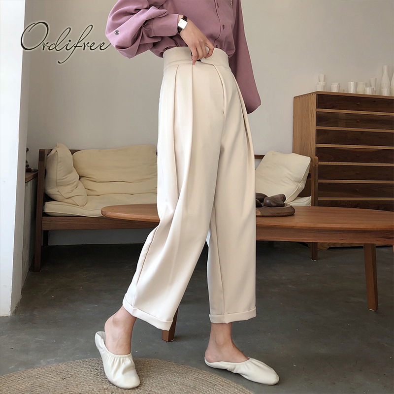 Ordifree 2019 Autumn Women Wide Leg Pants Korean Fashion White Loose High Waist Casual Palazzo Pants Plus Size M-4XL