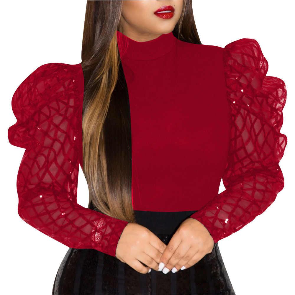 Echoine Sheer Mesh Puff Sleeve Blusa Camisa De Manga Larga Para Otono Blusa Elegante Vintage Blusa De Cuello Alto Para Mujer 2019 Blusas Y Camisas Aliexpress