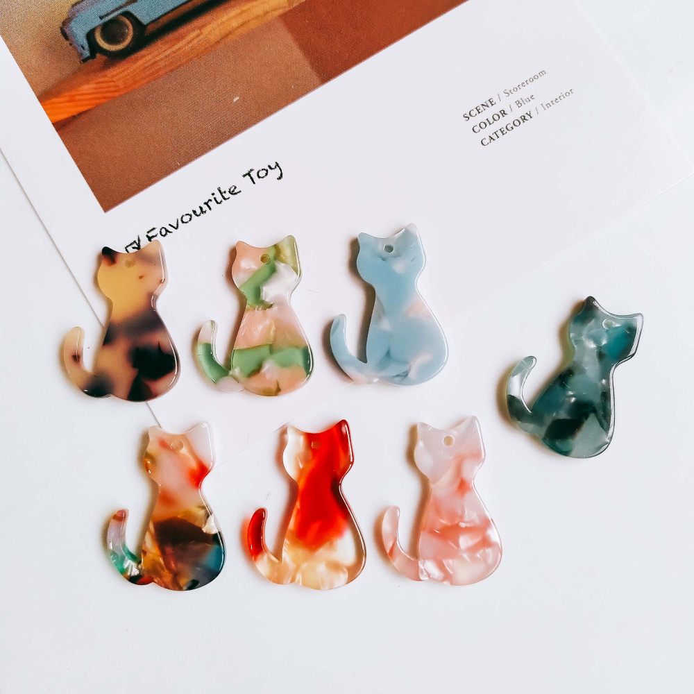 Cat Shape Resin Plastic Acetic Acid Eardrop Diy Material Pendant Necklace Earring Charms Jewelry Component 8pcs